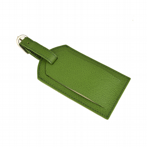 Leather Luggage Tag - Green